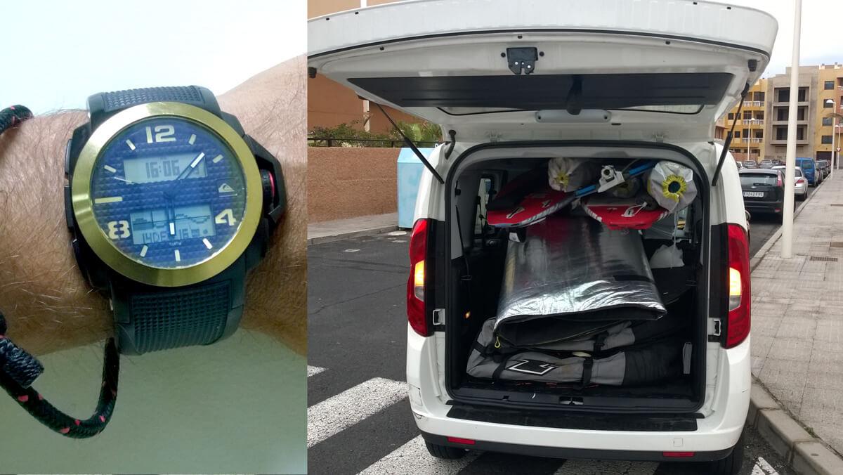 Du būtini dalykai - erdvus automobilis ir laikrodis rodantis potvynius ir atoslūgius. Automobilyje visos sėdynės laisvos, lentos, stiebai, irklas ir burės guli ant pagalvėlių. Pagalvėlės nuo druskos apdengtos maišeliais.